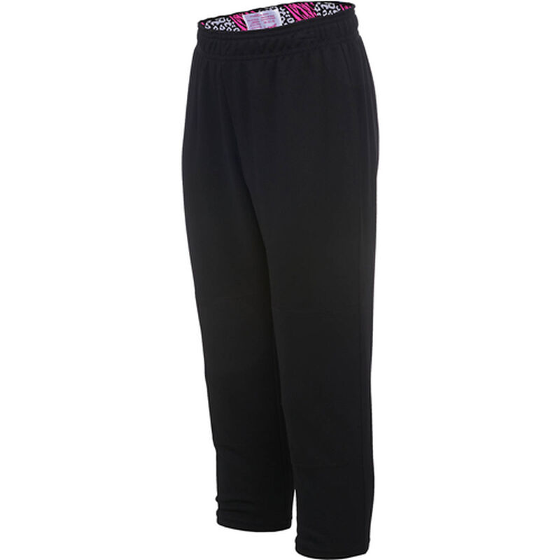 Girls' Wild Print Waistband Tee Ball Pants, Black/Pink, large image number 0