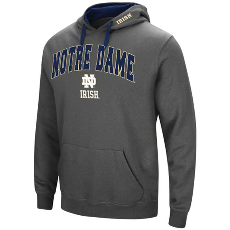 Men's Notre Dame Tackle Twill Hoodie, Charcoal,Smoke,Steel, large image number 0