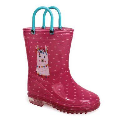 Delias Girl's Pink Llama Rain Boot