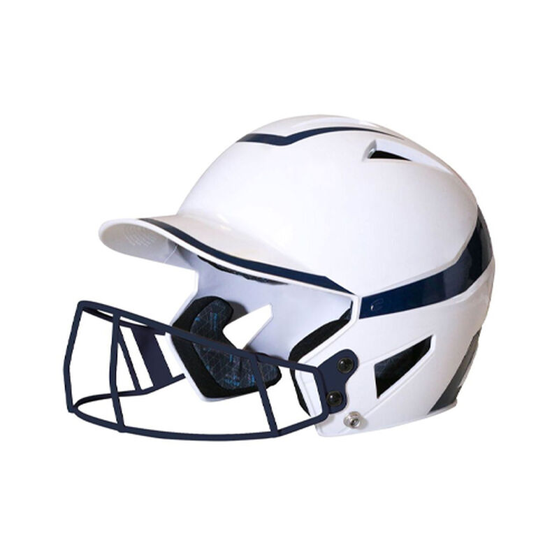 Junior 2-Tone Fast Pitch Helmet with mask, White/Navy, large image number 0
