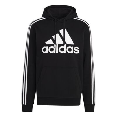 Men's Essentials Fleece 3-Stripes Logo Hoodie, Black, large