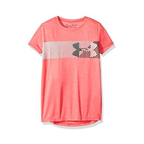Girl's Hybrid Big Logo Tee, Pink, swatch