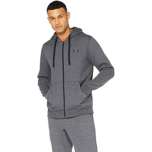 Men's Rival Fit Solid Full Zip Fleece, Heather Gray, swatch