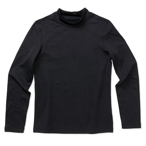 Boys' Long Sleeve Cold Weather Mock, Black, swatch