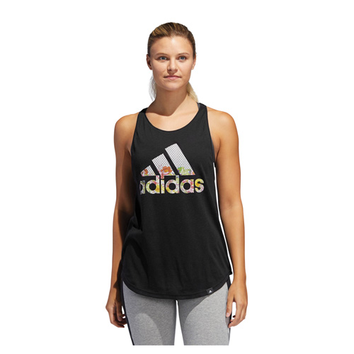 Women's Floral Essential Logo Tank, Black, swatch