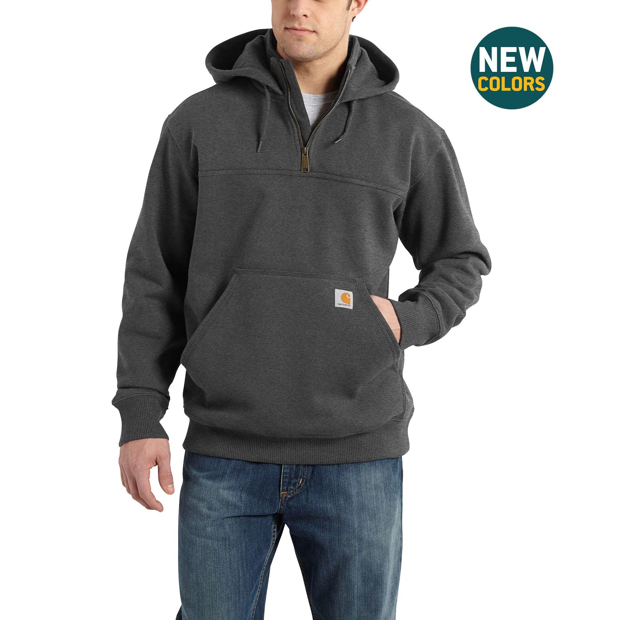 Men's Raindefender Paxton Heavyweight Hooded Zip Mock Sweatshirt, Heather Gray, swatch