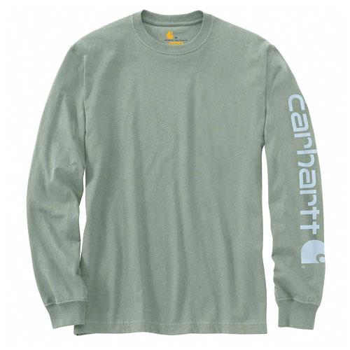 Men's Workwear Long-sleeve Graphic Logo T-Shirt, Green, swatch
