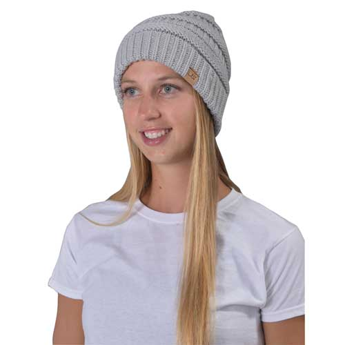 Women's Knitted Beanie, Heather Gray, swatch