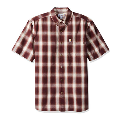 Men's Essential Plaid Button Down Shirt, Burnt Red, swatch