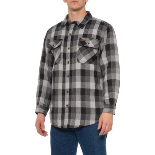 Men's Faux Sherpa Lined Flannel Shirt Jacket, Stone, swatch
