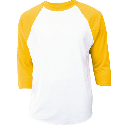 Youth 3/4 Sleeve Baseball Shirt, White/Yellow, swatch