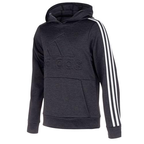 Boy's Embossed Performance Fleece Pullover Hoodie, Black, swatch