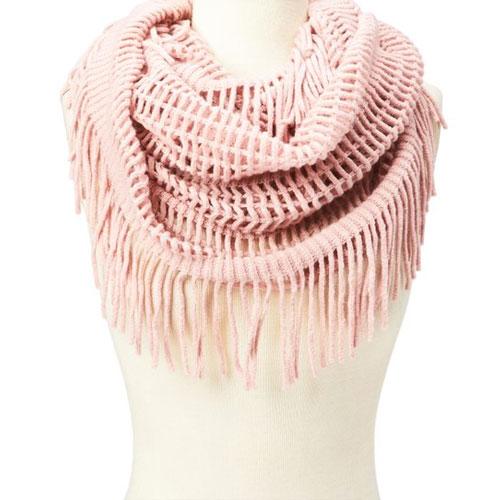 Women's Fringe Scarf, Pink, swatch