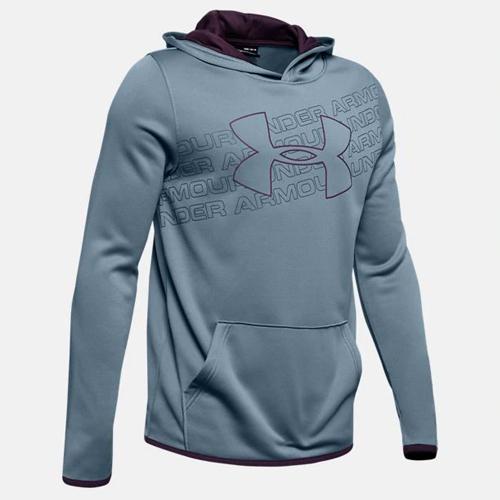 Boy's Armour Fleece Logo Hoodie, Blue, swatch