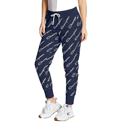Women's Allover Logo Heritage Joggers, Navy, swatch