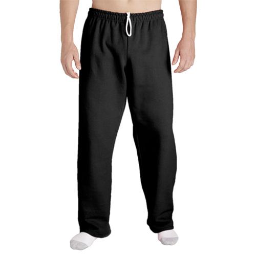Men's Open Bottom Pocketed Jersey Pants, Black, swatch