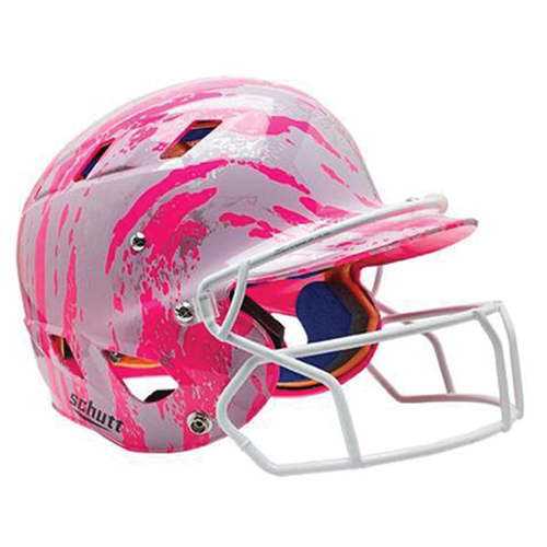 Women's D30 Batting Helmet with Mask, Pink/White, swatch