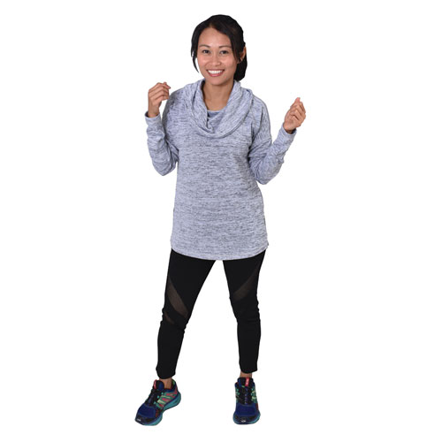 Womens Hacci Cowl Neck Top, Heather Gray, swatch