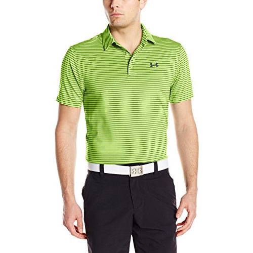Men's Short Sleeve Striped Polo Golf Shirt, Lime, swatch