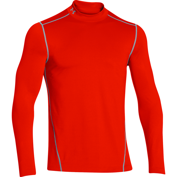 Men's ColdGear EVO Fitted Mock Long Sleeve Shirt, Orange, swatch