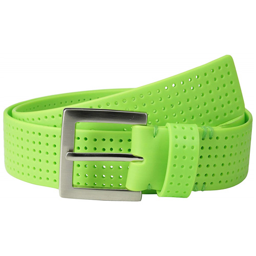 Men's Perforated Fashion Color Silicone Belt, Lime, swatch