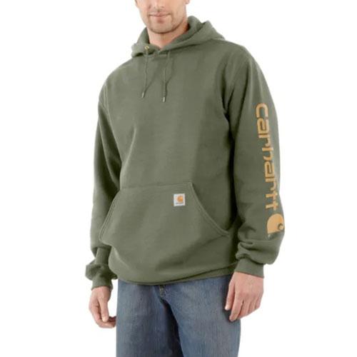 Men's Signature Sleeve Logo Hooded Sweatshirt, Dkgreen,Moss,Olive,Forest, swatch