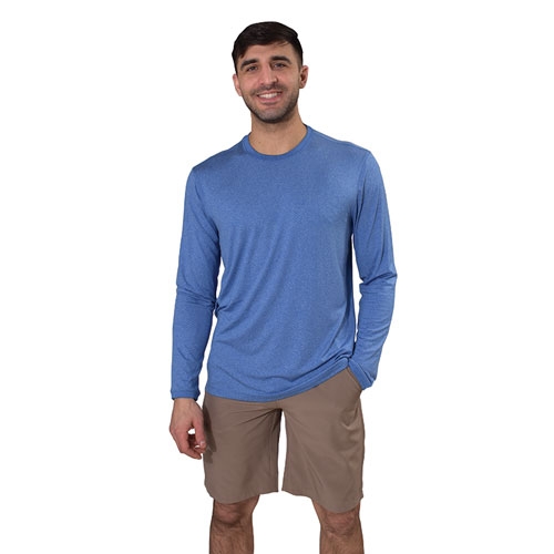 Men's Long Sleeve Poly UPF Crew Neck Shirt, Lt Blue,Powder,Sky Blue, swatch