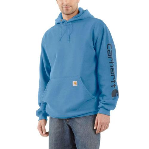Men's Midweight Hooded Logo Sweatshirt, Blue, swatch