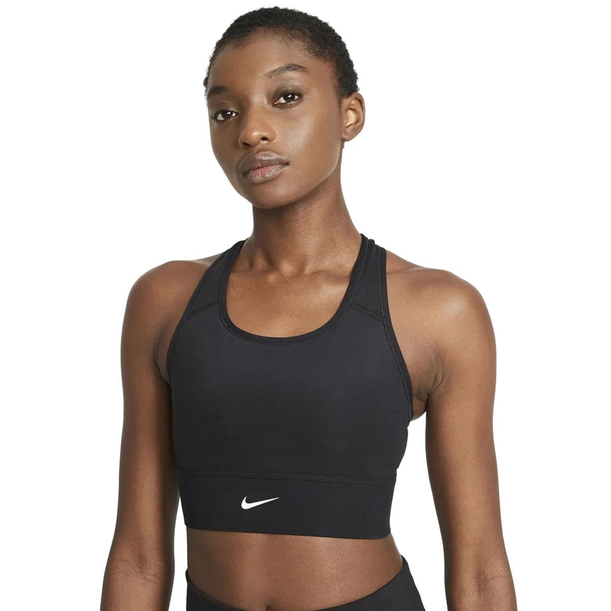 Women's Swoosh Long Line Bra, Black, swatch