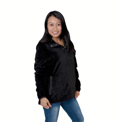 Women's Teddy Bear Mock Neck Snap Jacket, Black, swatch