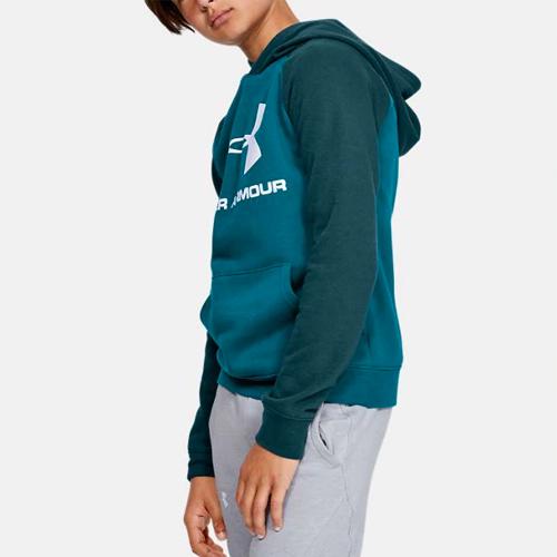 Boy's Rival Raglan Big Logo Hoodie, Green Blue, Teal, swatch