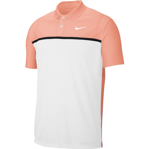 Men's Victory Color Block Polo Shirt, Pink/White, swatch