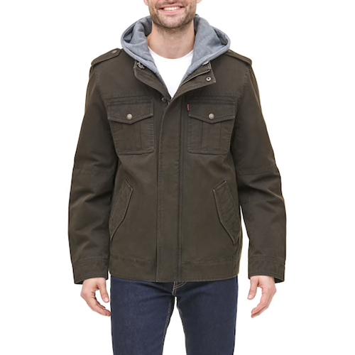 Men's 4 Pocket Zip-up Jacket, Brown, swatch