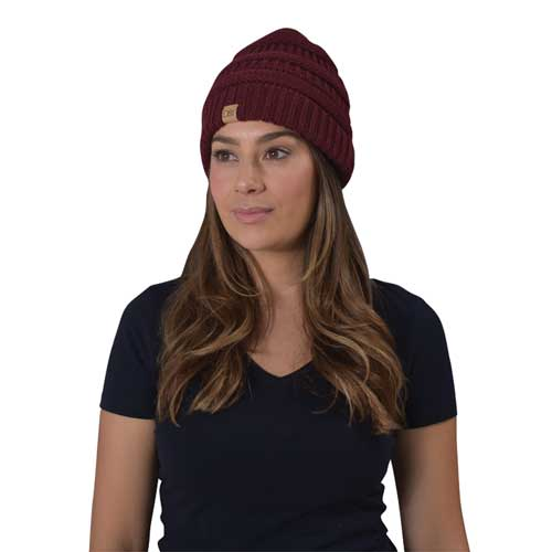 Women's Knitted Beanie, Dk Red,Wine,Ruby,Burgandy, swatch