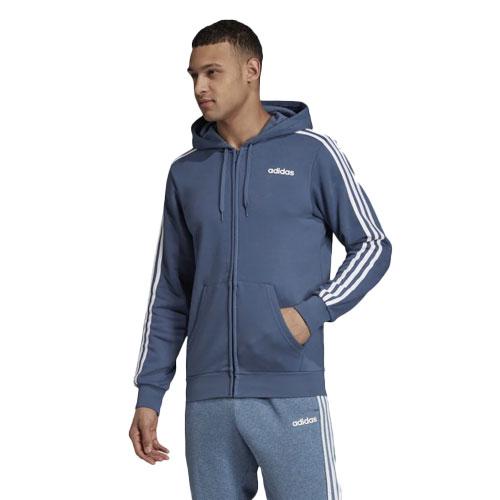 Men's Essentials 3-Stripes Fleece Full-Zip Hoodie, Blue, swatch