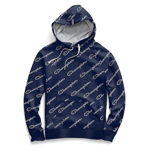 Women's Heritage Fleece Pullover Hoodie With Allover Logo, Navy, swatch