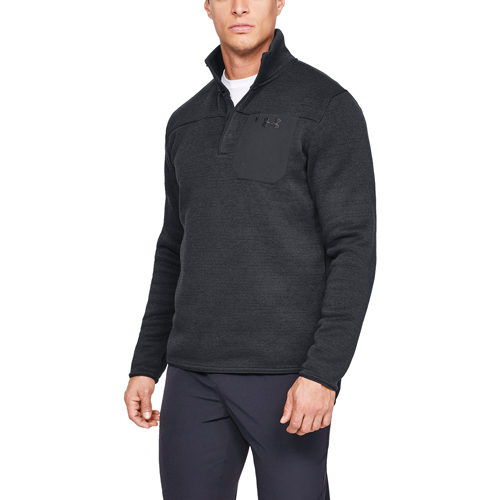 Men's Long Sleeve Specialist Henley 2.0 Fleece, Black, swatch