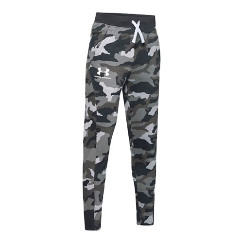 Boy's Rival Printed Camo Jogger, Black, swatch