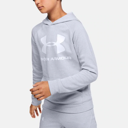 Boy's Rival Raglan Big Logo Hoodie, Heather Gray, swatch