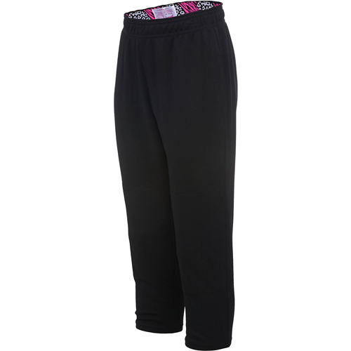 Girls' Wild Print Waistband Tee Ball Pants, Black/Pink, swatch