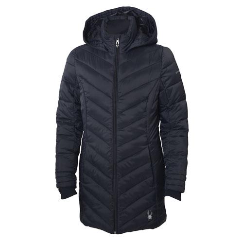 Girls' Long Boundless Ski Jacket, Black, swatch