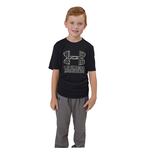 Boy's Under Armour Print Logo Tee, Charcoal,Smoke,Steel, swatch