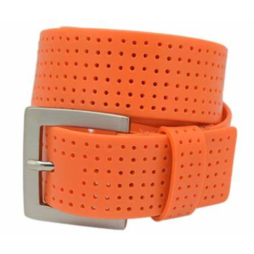 Men's Perforated Fashion Color Silicone Belt, Orange, swatch