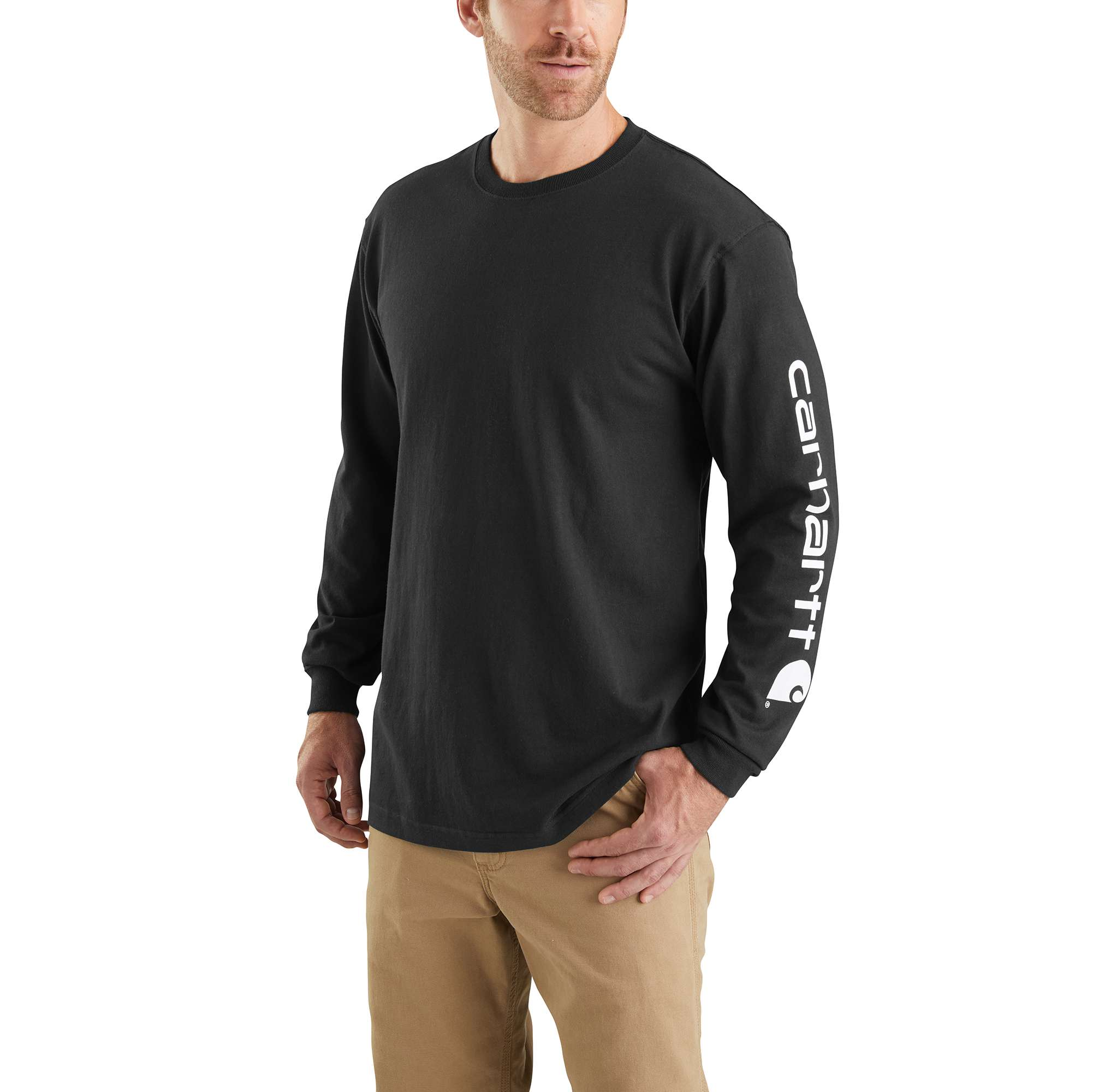 Men's  Long Sleeve Signature Logo Tall Tee, Black, swatch