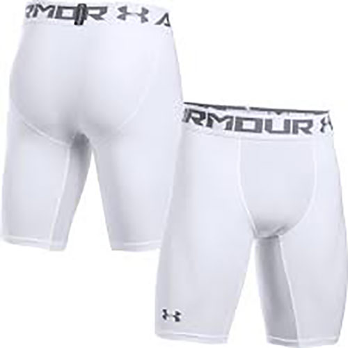"Men's 9"" HeatGear Compression Short, White, swatch"