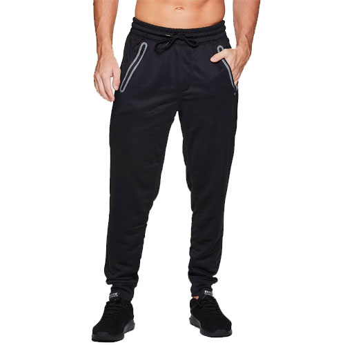Men's Polyester French Terry Joggers, Black, swatch