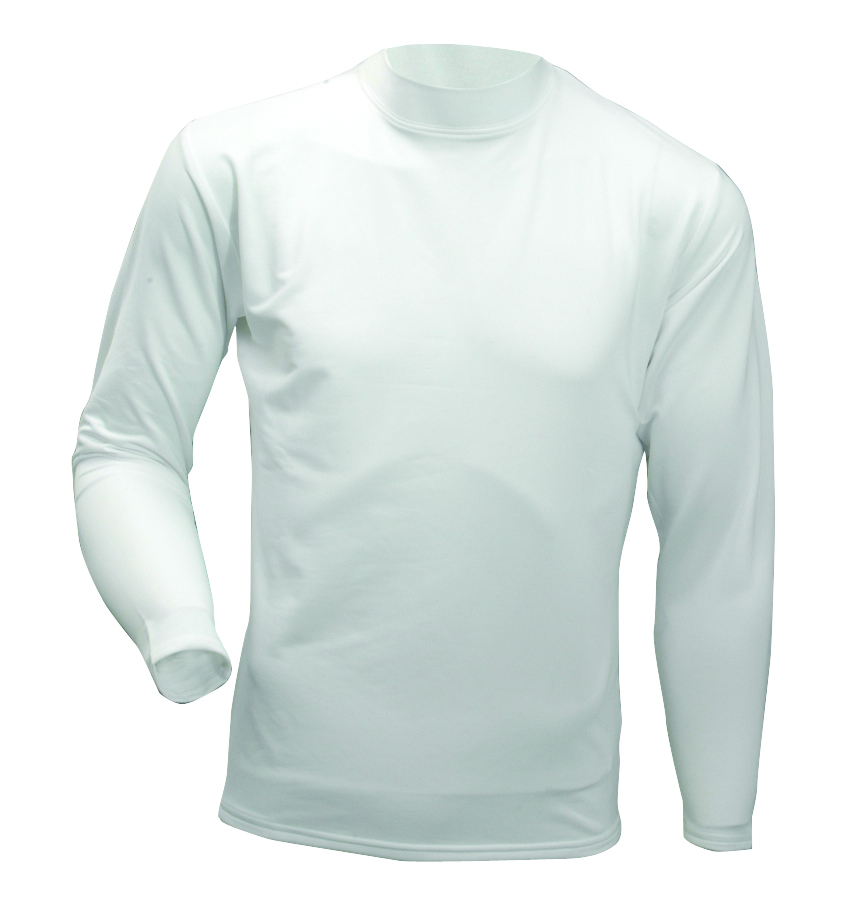 Men's Long Sleeve Cold Weather Mockneck Shirt, White, swatch