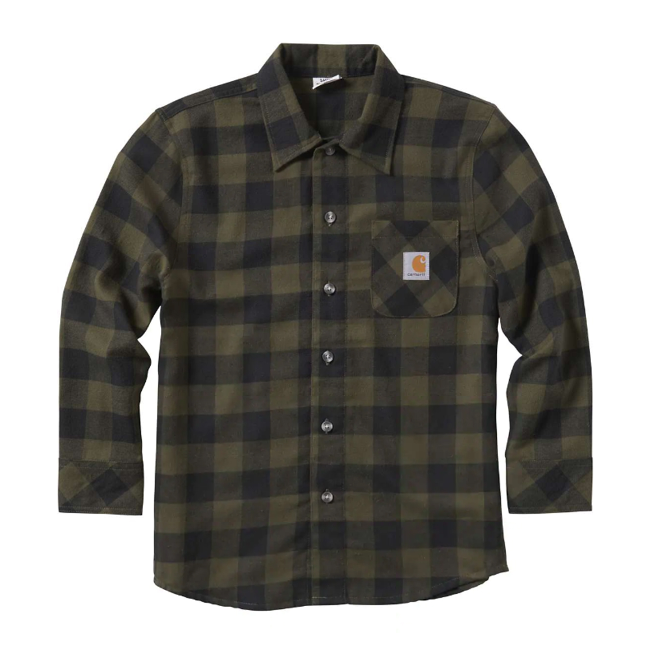 Boy's Shirt Long Sleeve Plaid Shirt, Green/Blk, swatch