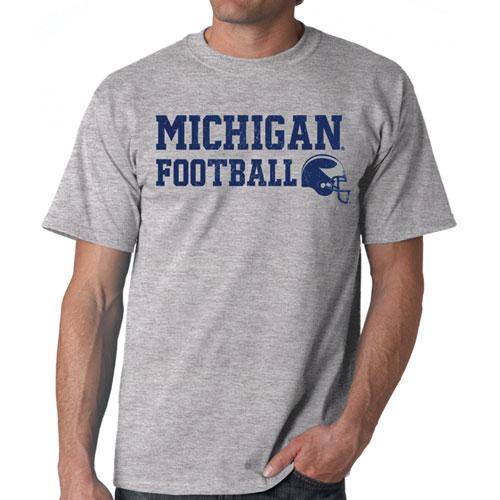 Michigan Football Helmet Tee, Gray, swatch