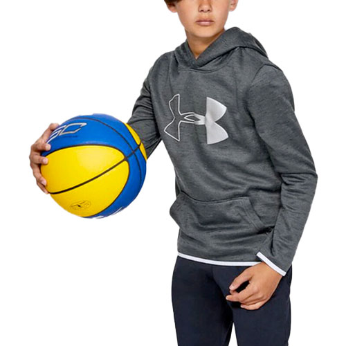 Boy's Armour Fleece Branded Hoodie, Gray, swatch